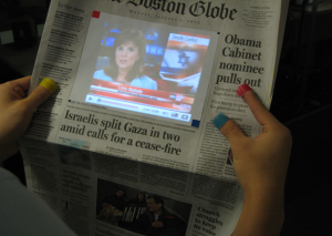 newspaper technology with sixth sense